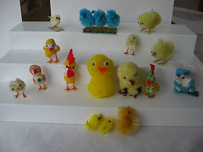 Mixed lot of vintage pom pom and others Easter chicks & rabbit, decoration craft