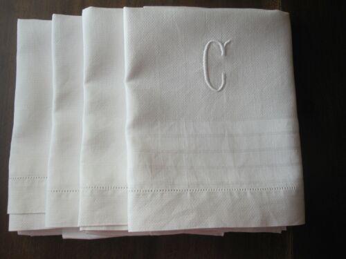 """SET 4 ANTIQUE WHITE DAMASK HUCK LINEN EDWARDIAN DECO ERA TOWELS MONOGRAM """"C"""" EUC"""