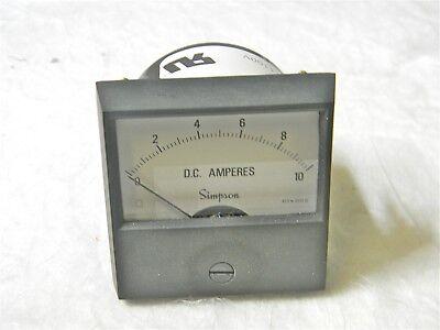 Simpson Analog Panel Ammeter 0 To10 Adc 2.5 Ul Century Series 17405