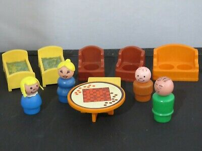 Vintage Fisher Price Play Family Decorator Set #728 1970s - wood figures