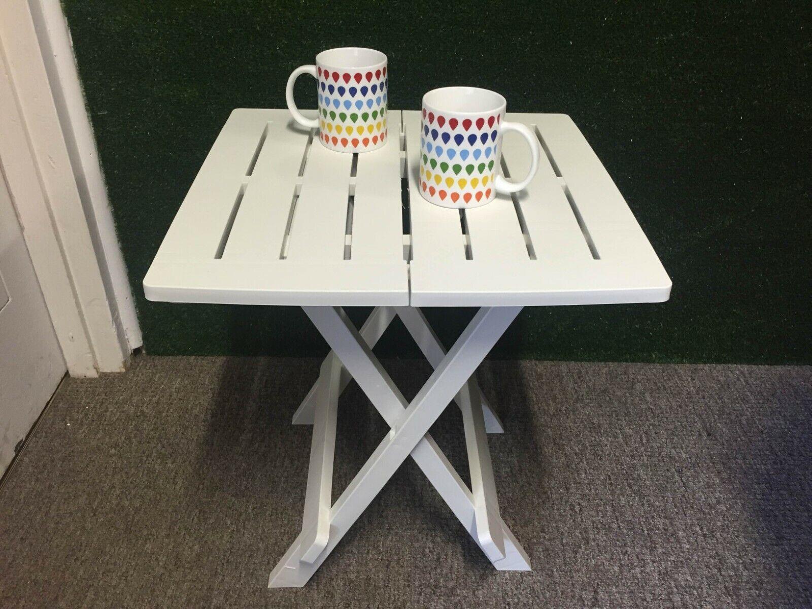 Garden Furniture - Patio Side Table White Plastic Bistro Balcony Pool Deck Garden Furniture Outdoor