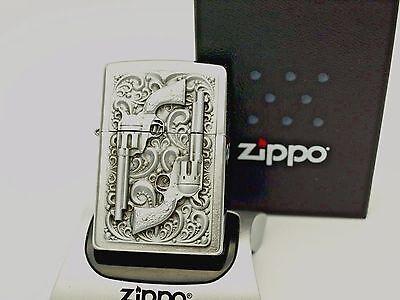 Zippo Lighter TWIN REVOLVERS barrels pistol - Heavy Detailed design zippos