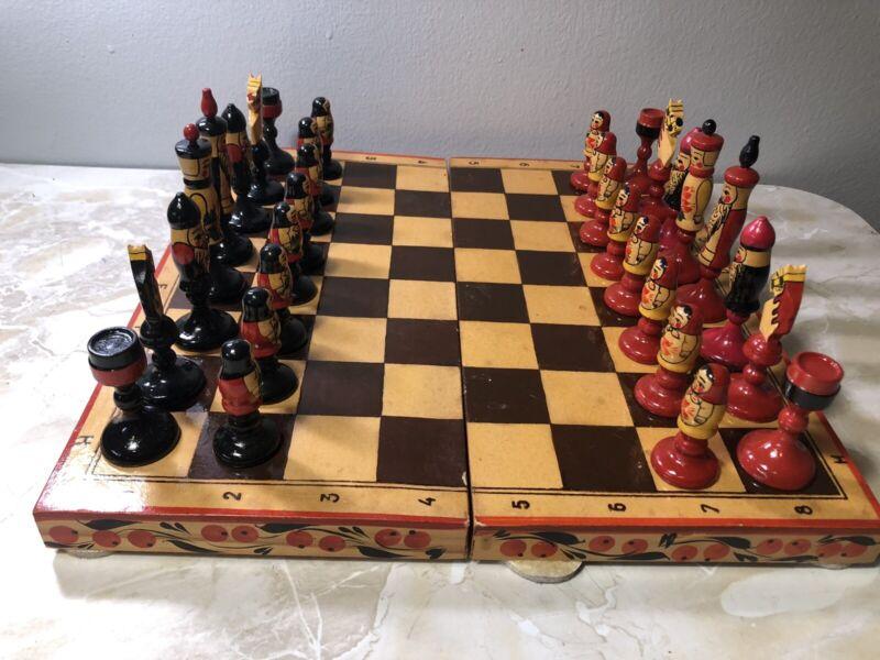 Vintage USSR RUSSIAN Wood Hand Painted MATRYOSHKA BABUSHKA Doll Chess Set