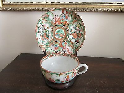 Vintage Chinese Famille Rose Medallions Tea Cup And Saucer