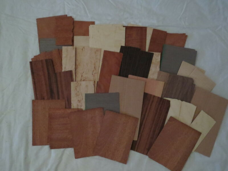 "A sampler box of wood veener  5 "" wide 8"" long box    various selection"