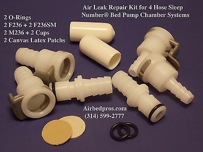 Air Leak Repair Parts Kit For 4 Hose Sleep Number  Bed Pump Air Chamber Systems