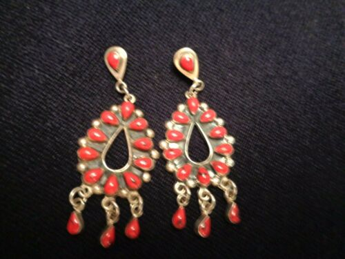 Vintage Signed HOB Mexico Sterling Coral Drop Earrings