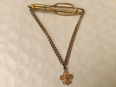 Vintage Boy Scout BSA Fleur De Lis Pendant Tie Clip Bar Gold Plate (Bsa Fleur De Lis)