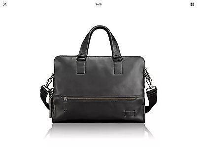 Tumi Harrison Taylor Portfolio Brief 63016 Business Leather Messenger Bag Black