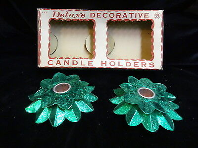 Vintage 1960s Green Aluminum Foil Deluxe Decorative Candle Holers, Original Box