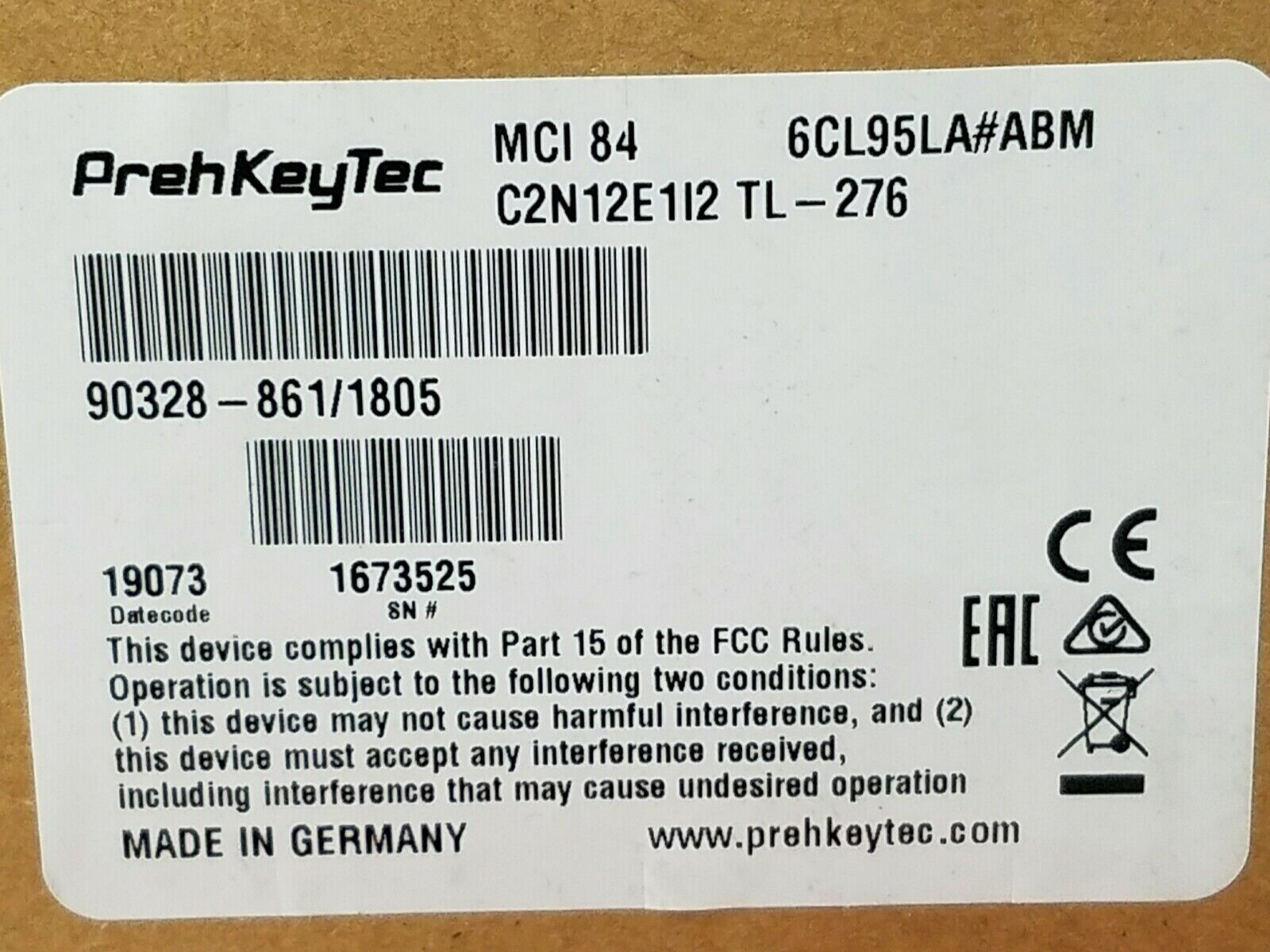 PrehKeyTec MCI 84 USB POS Keyboard Spanish Keys No Card Reader 903288611805 New