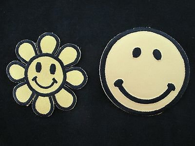 - Smiley Face,Flower Smile Face,Hippie 70s Fun Embroidery Iron On Applique Patch