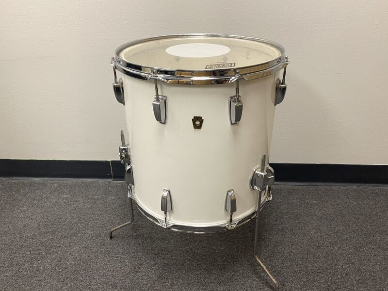 "1965 Ludwig Floor Tom 16"" White Cortex Wrap, 3 Ply Shells with Re-Rings"