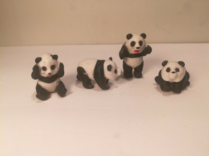 Collectible Vintage Panda Bear Miniature Animals Set of 4