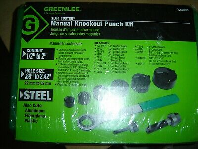 Greenlee 7238sb Slug-buster Knockout Kit With Ratchet Wrench 12 Thru 2 New