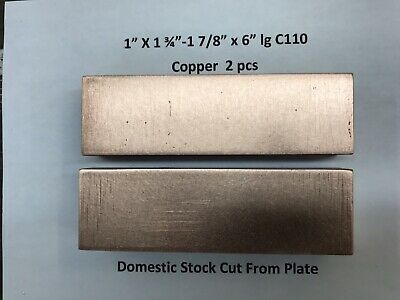Copper Flat Bar Stock  2pcs Of 1 X 1 34-1 78 X 6 Lg C110