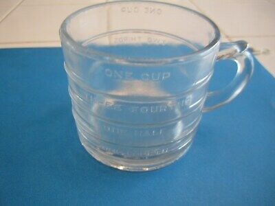 Vintage  Glass Measuring 1 Cup Spoutless numbers spelled out, heavy glass (Glasses Measurement Numbers)