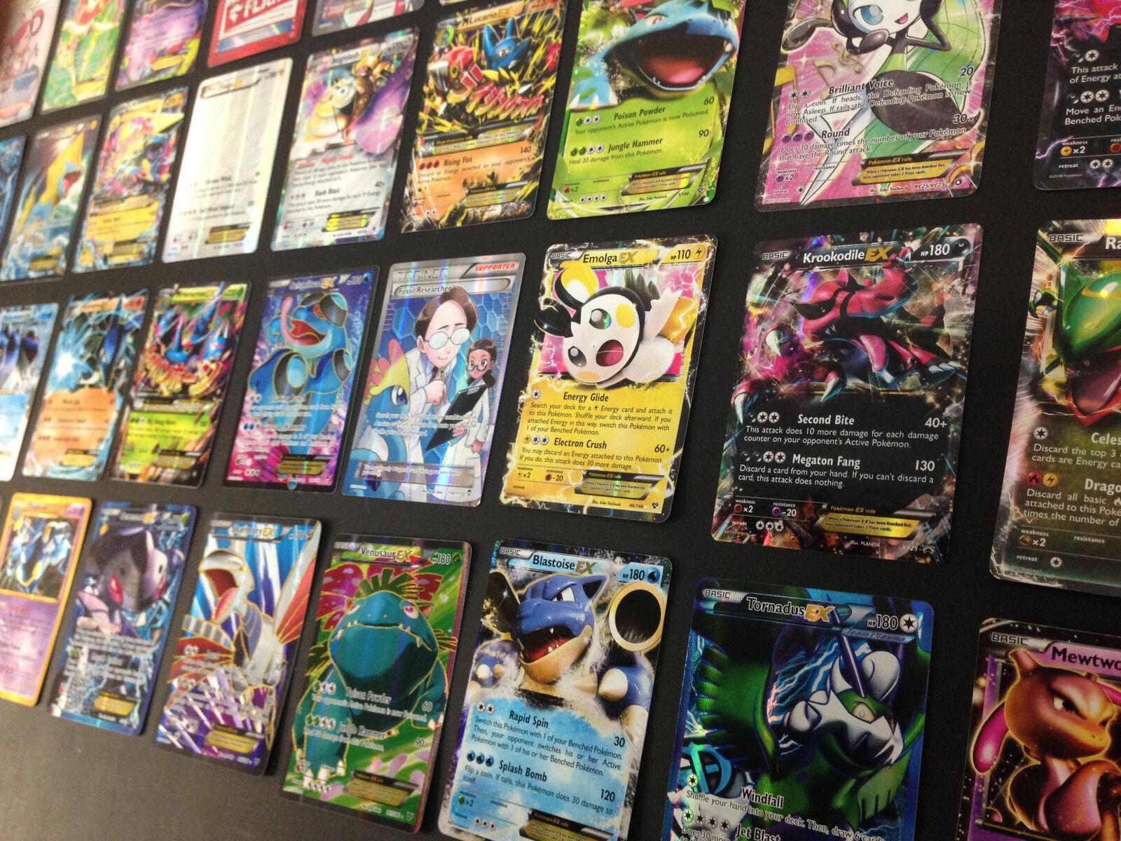Купить Pokemon - Pokemon Card Lot 100 OFFICIAL TCG Cards Ultra Rare Included - GX EX MEGA + HOLOS