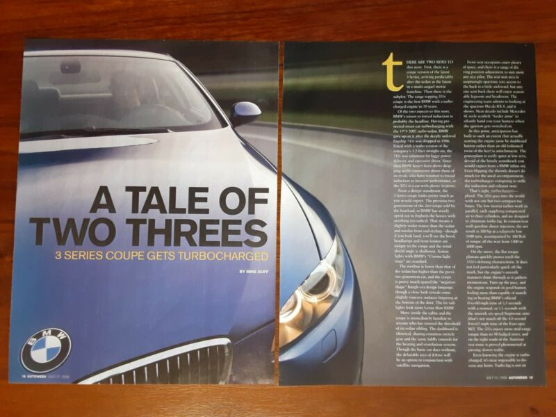 BMW 335i COUPE MAGAZINE ARTICLE AUTOWEEK TURBO E92 A TALE OF TWO THREES