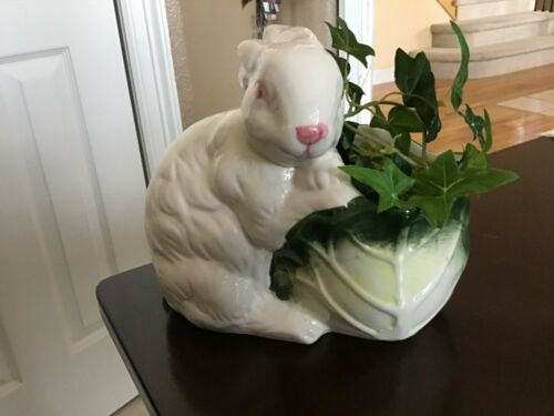 Vintage Bunny Rabbit Planter with cabbage
