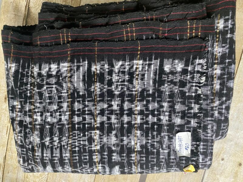 Guatemalan vintage fabric double Ikat black white gold 5.5 yards