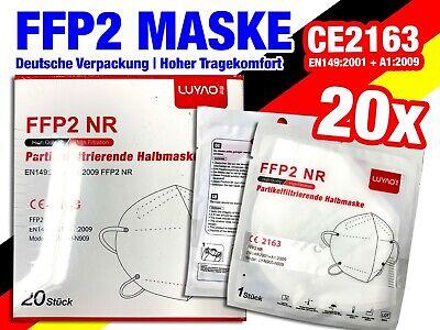 20 x FFP2 LUYAO Atemschutz Mundschutz Maske - 5-Lagig - > 94% Filterleistung