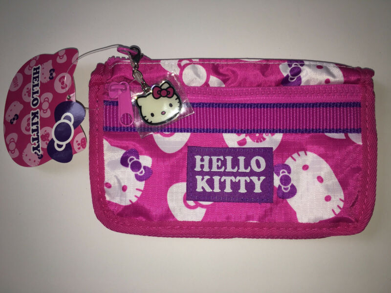 Hello Kitty Sanrio Pink Double Zippers Clutch Phone Carry Bag Purse Keychain