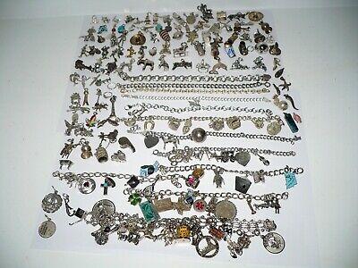 Vintage Lot All Sterling Silver Charm Bracelets 590 Grams Movable Disney Enamel  All Fine Jewelry Turquoise Bracelet