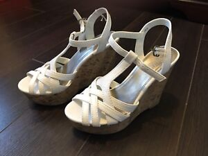 Brand new white wedges size 5