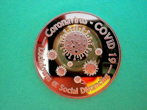 CORONA  PANDEMIC 19 -SOCIAL DISTANCING 188 1oz Copper Round  #2