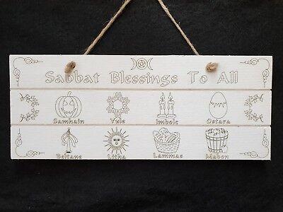 Handcrafted Wooden Sabbat's Sign ~ Pagan ~ Wicca ~ Sabbat Blessings
