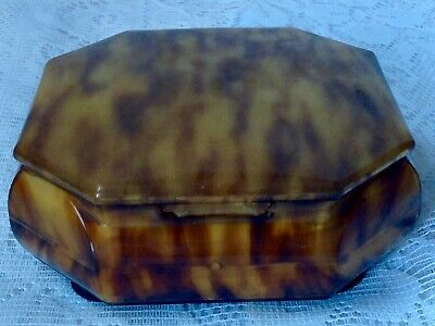 Art Deco Celluloid Octagonal Faux Toitoiseshell Jewellery Box, Good Hinged Lid