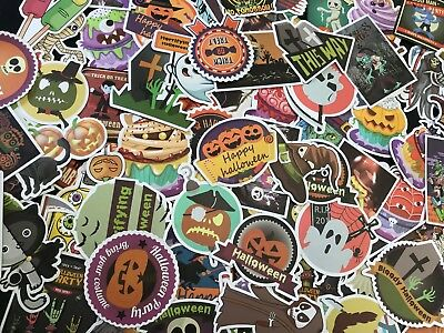 100 Halloween Holiday Stickers Vinyl  Decals  Lot for Kid Trick Treat Party Gift](Halloween Vinyl Crafts)