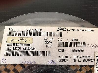 Tantalum Capacitor 47 Uf 16 Vdc Smd 20 50 Pcs Us Stock