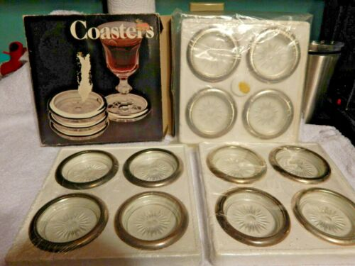 New Twelve Vintage Silverplate Rimmed Glass Coasters Leonard Made in Italy