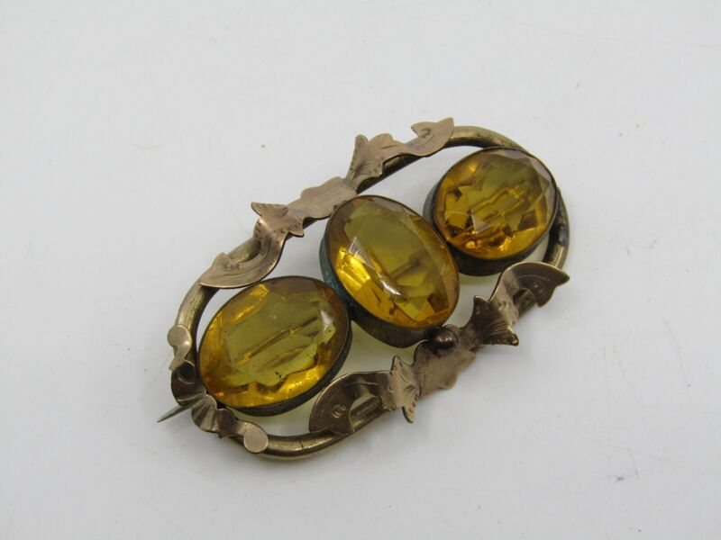 Beautiful Antique Victorian Large Brooch Pin with 3 Cairngorm Citrine Stones