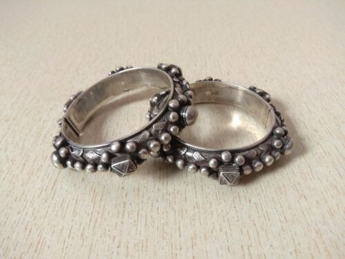 Pair of Silver Mizam Bracelet from Morocco with Hallmarks