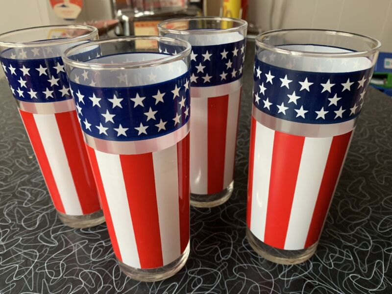 Set Of 4 Vintage Libbey American Flag Tumblers Glasses Stars & And Stripes