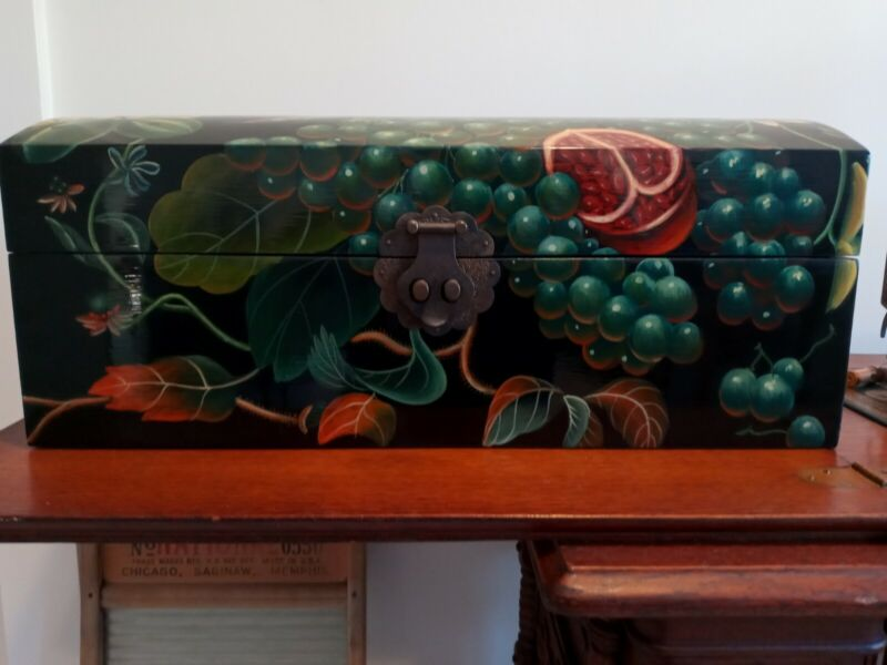 """Ornate Hand-painted Chest 18""""×8""""×8.25"""""""