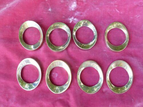 8 AMAZING FURTURISTIC DANISH MODERN STYLE  ELLIPTICAL SILVERPLATE NAPKIN RINGS