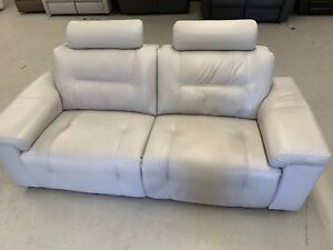 Leather, power reclining  blanket chaise sofa