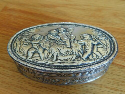 1806 Dated Austrian Repoussé Classical Youth & Ram Scene Silver Table Snuff Box