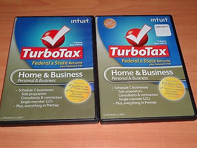 2 Cds For Federal Return  Retail   2011 2012 Turbotax Home   Business Cd