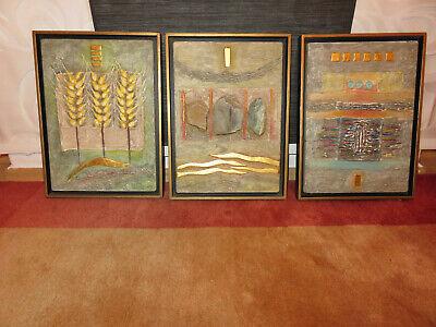 Original Kunst Malerei Willi PETTERS (1935-2016) Acryl Material Collagen 3 Stück