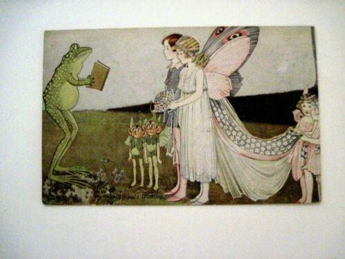 "Adorable Vintage Postcard w/ Frog, Fairy & Elves by ""Ida Outhwaite""   *"