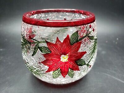 Yankee Candle Christmas Poinsettia Crackle Glass Votive Candle Holder