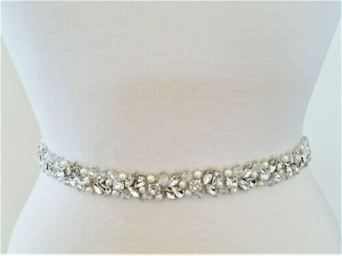 "Wedding Sash Belt = 25"" trim SILVER CLEAR CRYSTAL PEARL Wedding Sash Belt"