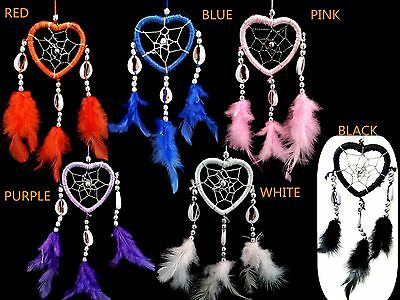 Handmade Dream Catcher with feathers car or wall hanging ornament -multi colorsH ()
