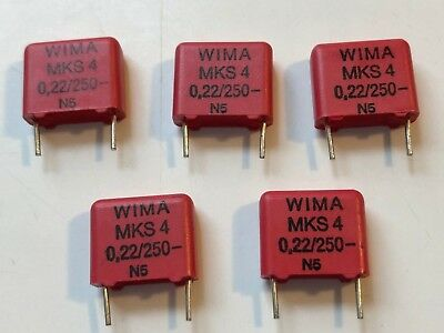 New 5pcs Wima Polyester Pulse Capacitor Mks4 .22uf 250v 10 Audio