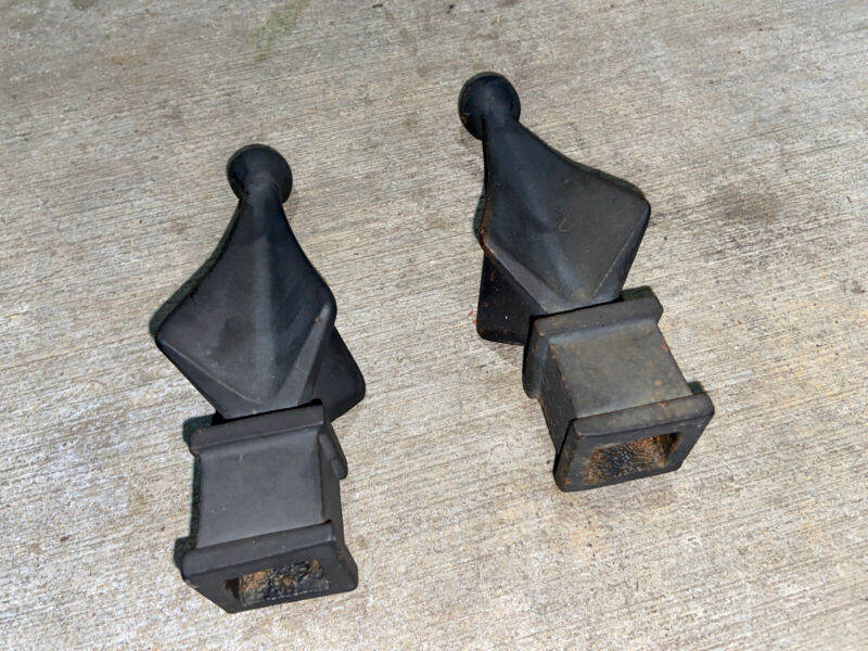2 Vintage Cast Iron Fence Finial Toppers